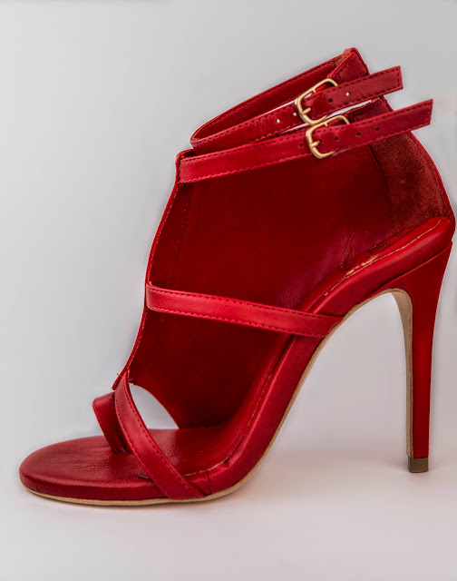 Red Cutout Sandal with Ankle Strap