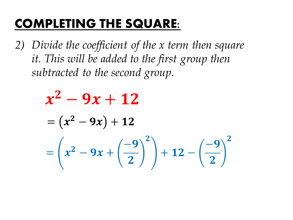 Completing the Square   IGCSE at Mathematics Realm