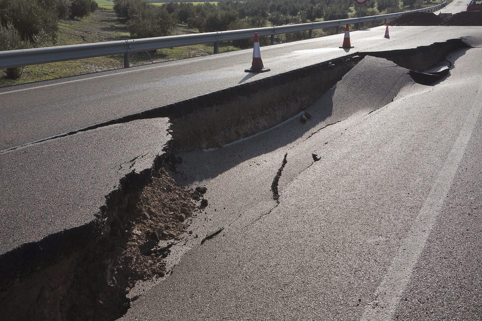Road damaged by a sinkhole