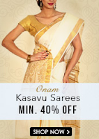 Snapdeal :Onam Kasavu Sarees offer at Min. 40 % Off