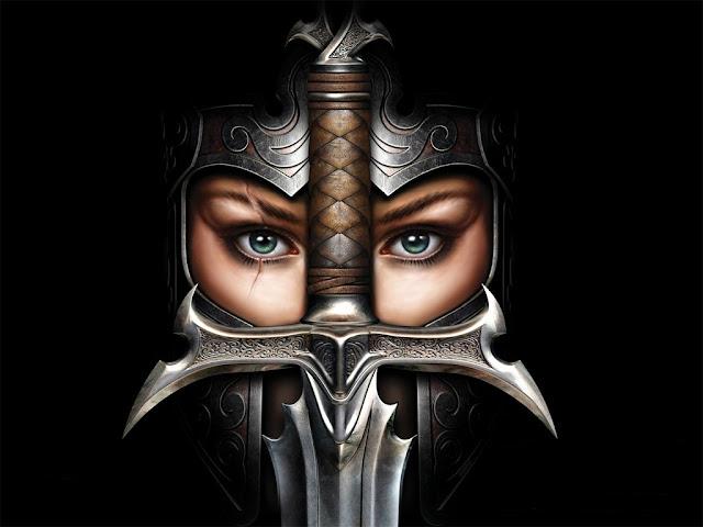 Guerreira com elmo e espada