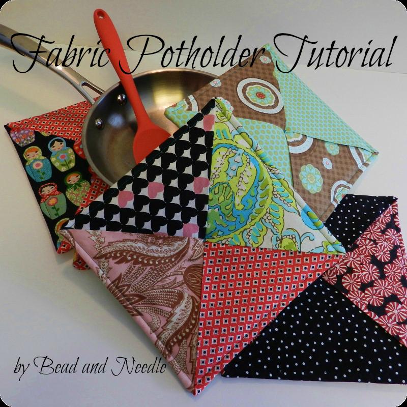 Bead And Needle Fabric Potholder Tutorial
