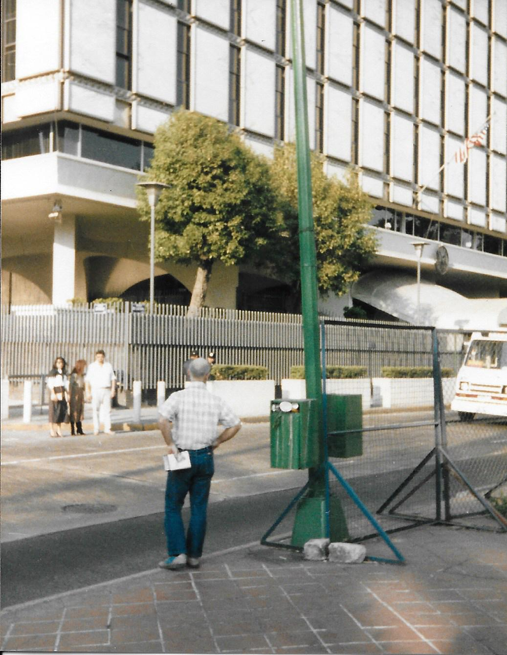 here is david across from the american embassy there were guards there with machine guns as well as machine gun armed police here and there