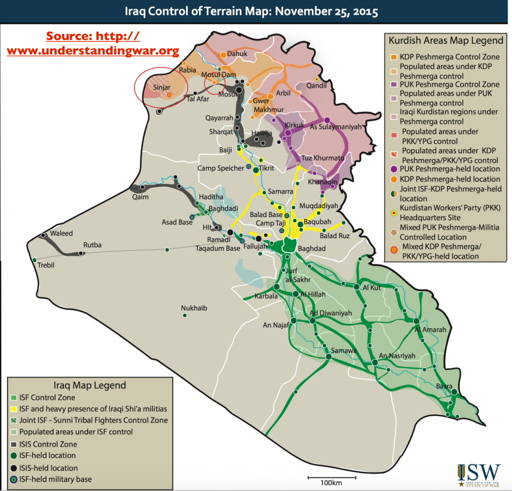 Iraq control of terrain map (November 25, 2015)