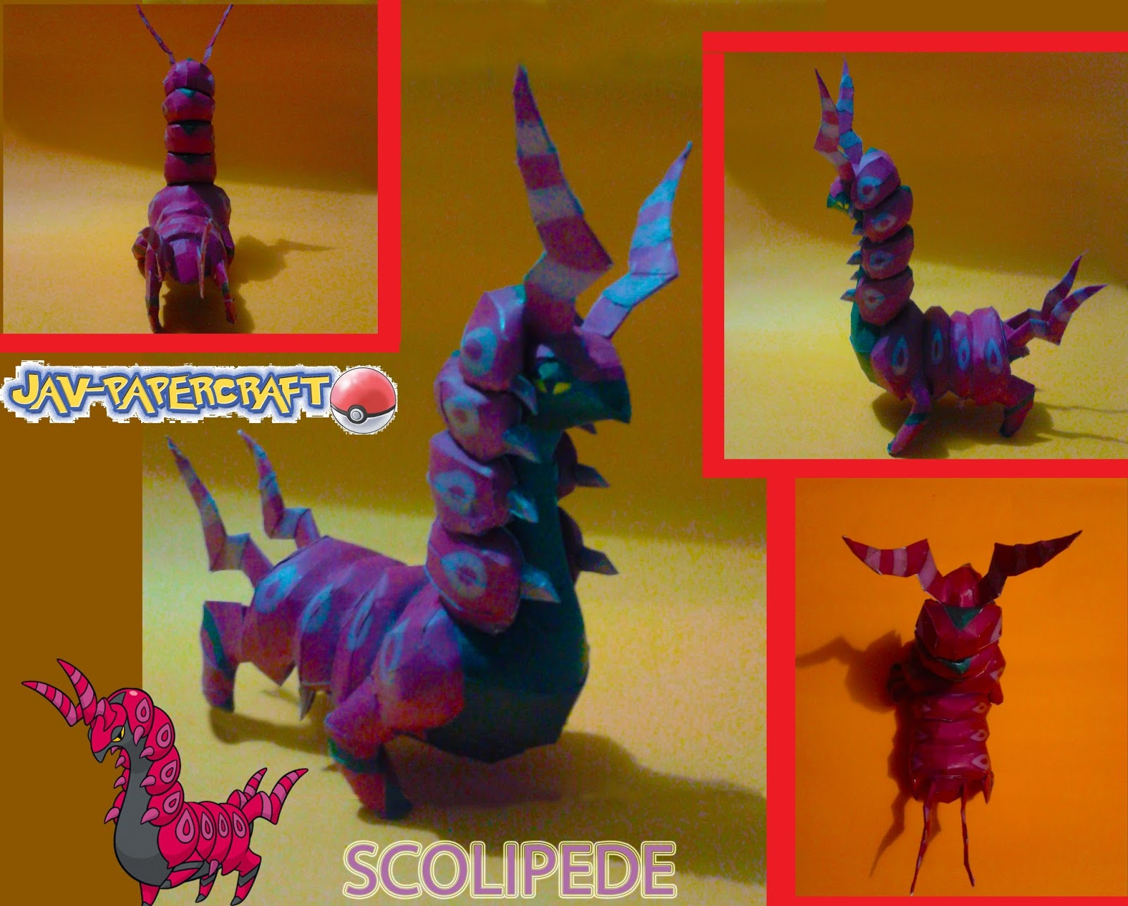 Pokemon Scolipede Paper Model