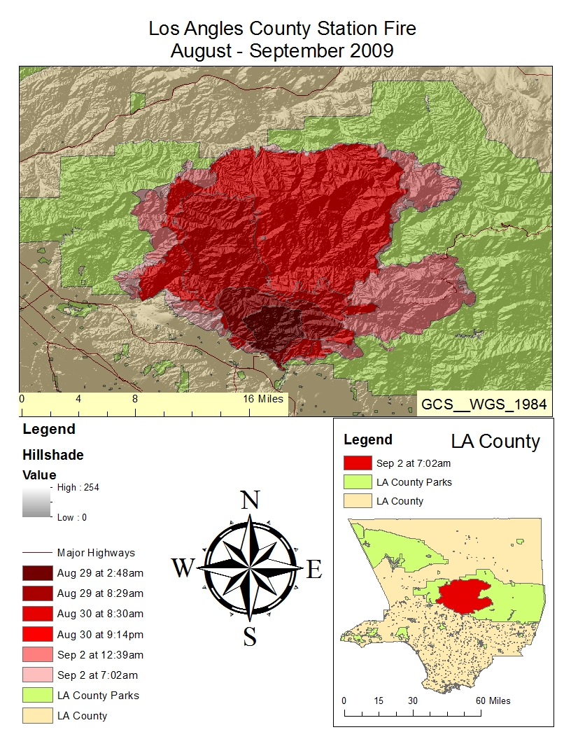 as detailed in the above map the fire started at the southern edge of the los angeles national forest and grew northward the fire followed that path