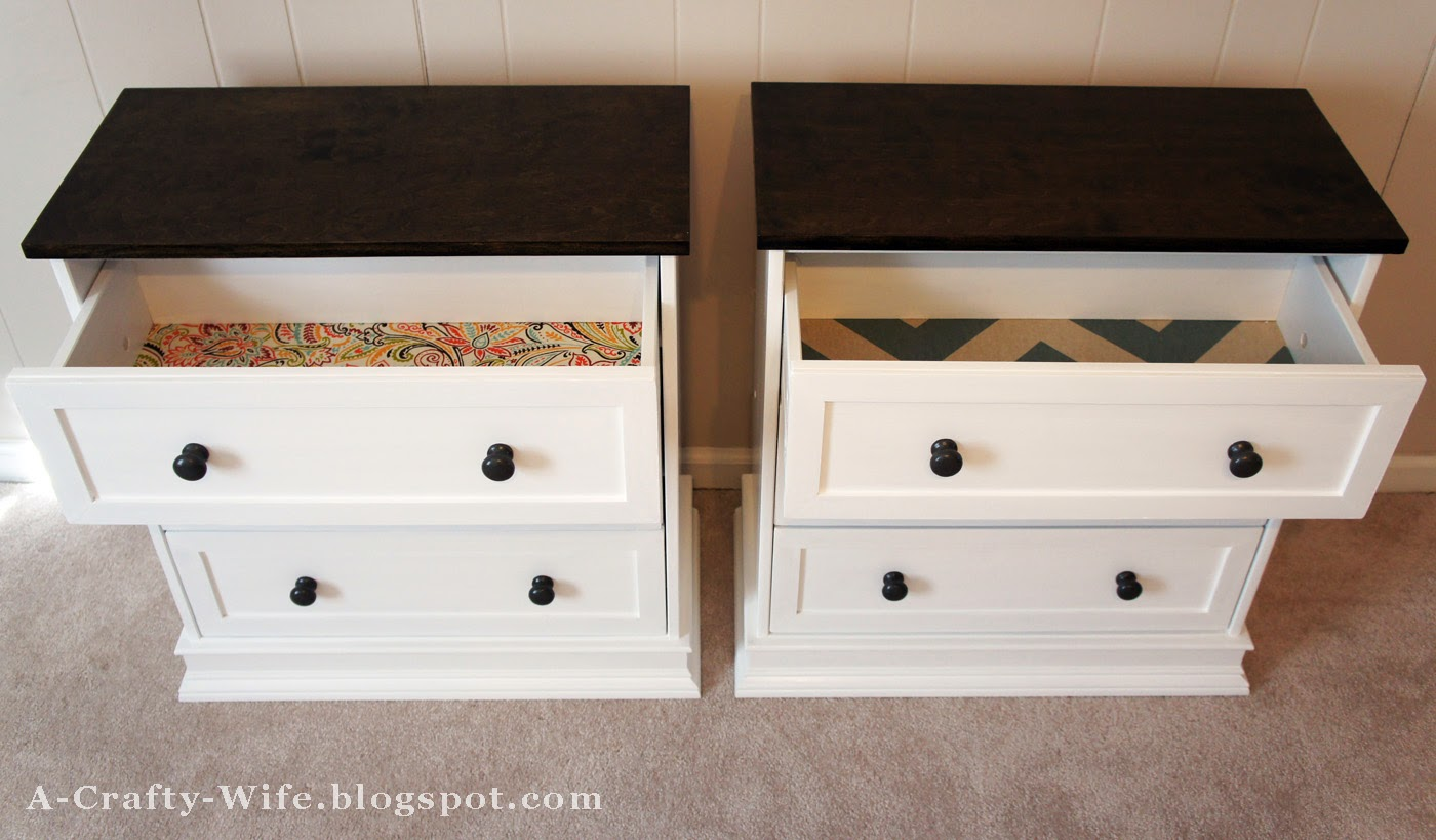 Adding fabric to drawer bottoms adds personality and style to an Ikea Rast hack | A Crafty Wife