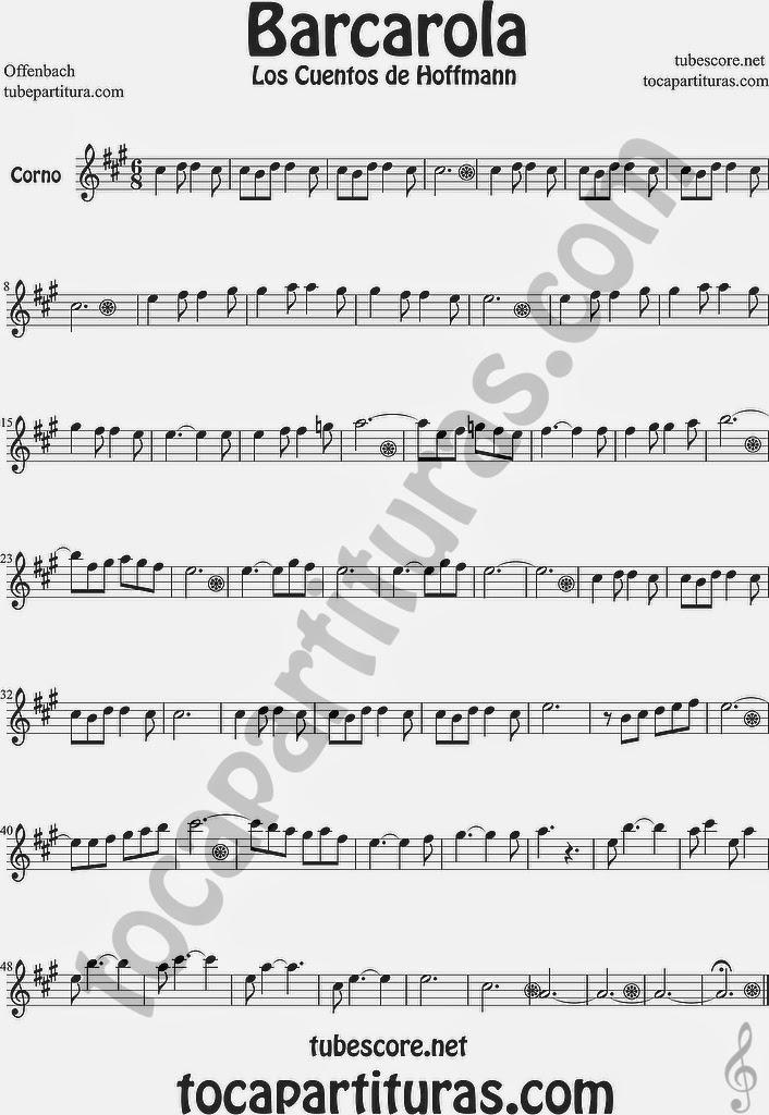 Barcarola Partitura de Trompa y Corno Francés en Mi bemol Sheet Music for French Horn Music Scores Los cuentos de Hoffmann by Offenbach