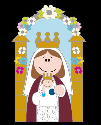 Virgen maria caricatura a color - Imagui