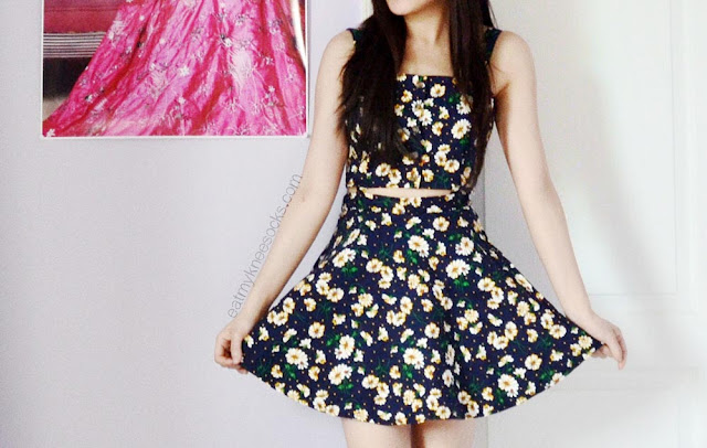 SheIn's floral cutout dress is a two-piece suspender dress that can be worn together or as separates.