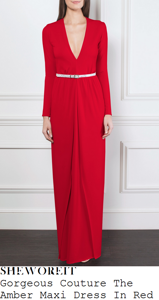 sam-faiers-red-long-sleeve-plunge-front-maxi-dress-ok-magazine