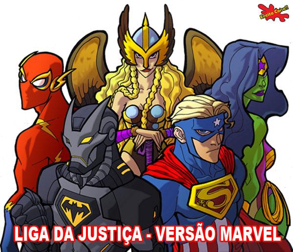 E se a Liga da Justiça fosse da Marvel teríamos os personagens totalmente repaginados o Batman parece ser mais sinistro nessa imagem só que não