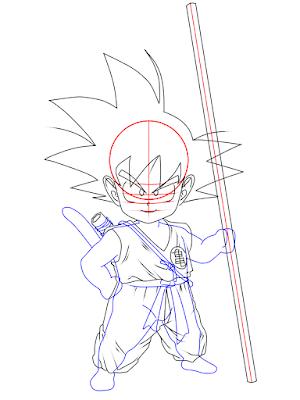 cara menggambar Goku kecil tahap 14