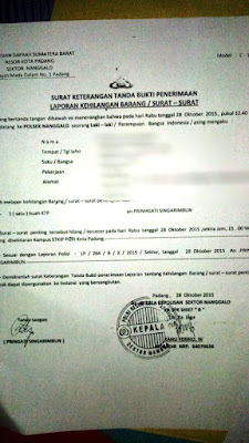 contoh surat kehilangan KTP dari kepolisian
