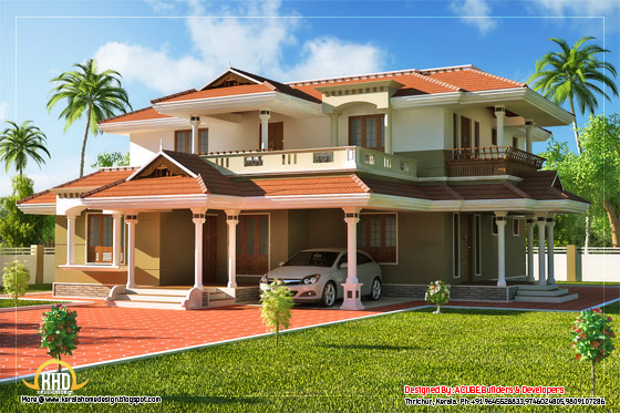 Beautiful Kerala Style 2 Storey House - 2328 Sq. Ft. (216 Sq. M.) (259 Square Yards)- March 2012