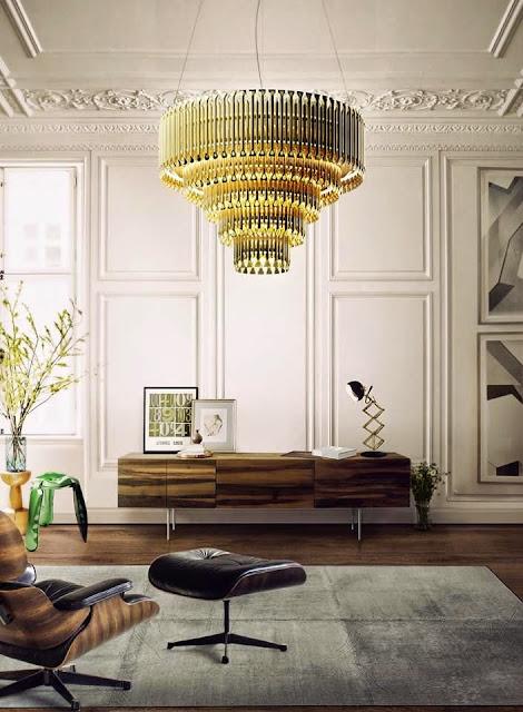 white paneled walls in living room modern gold lights