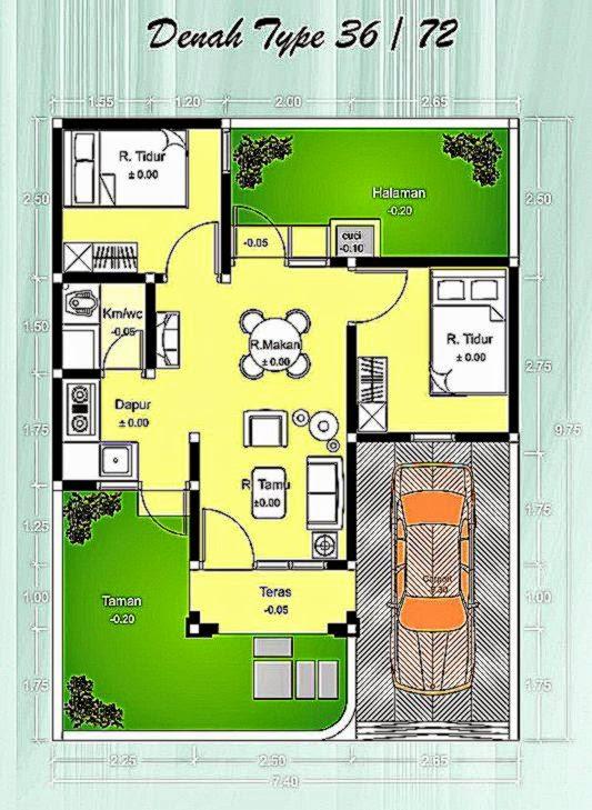 Denah Rumah Minimalis Type 36 yang Nyaman   Rumah Minimalis Mewah
