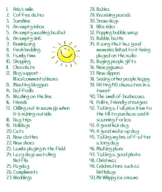 50 things that make me happy blog post tag