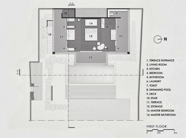 First floor plan of Exotic contemporary style house in Bali