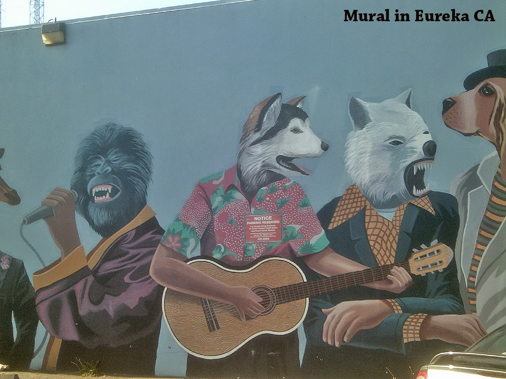 humboldt nation mural in eureka california animals playing music by duane flatmo and rural burl. Black Bedroom Furniture Sets. Home Design Ideas