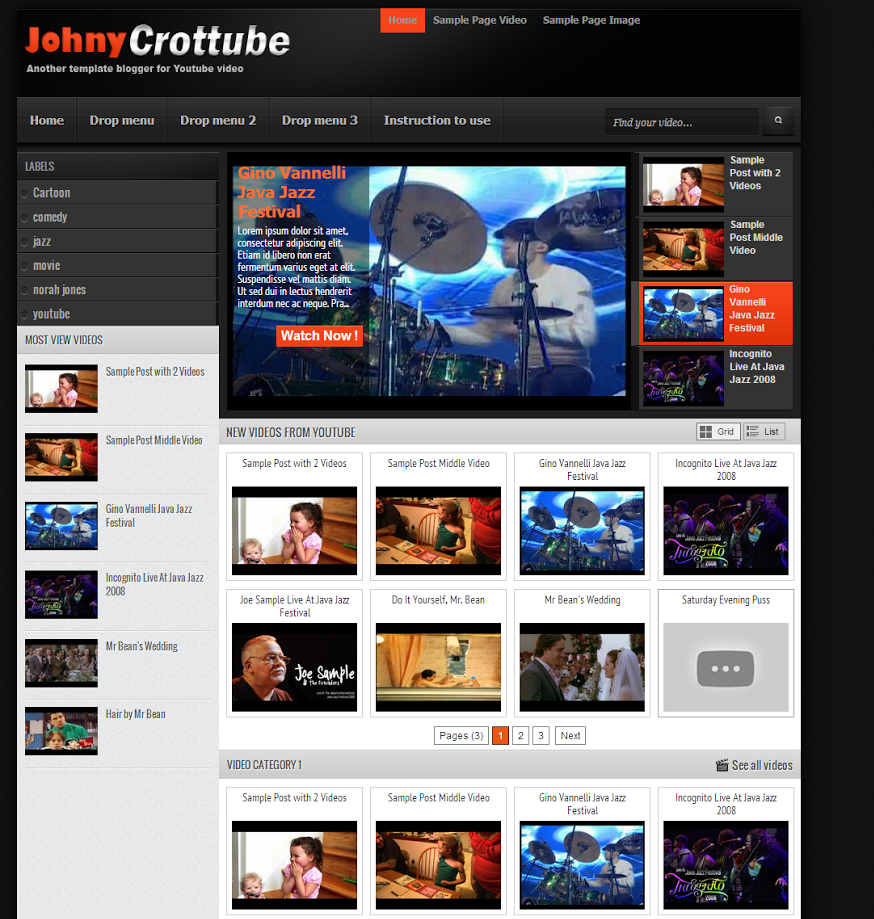 Johny Crottube Template Blogspot