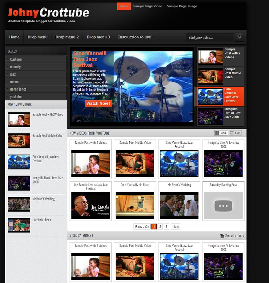 Johny Crottube Template Blogspot