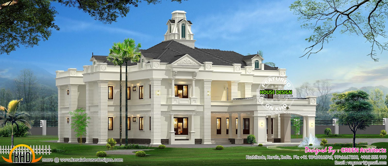 Colonial style indian house kerala home design and floor for Colonial house design