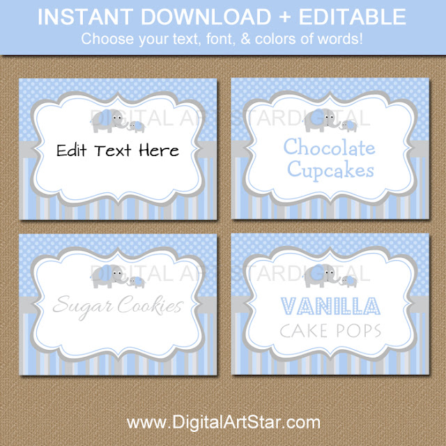 Elephant buffet labels with editable text for boy baby shower