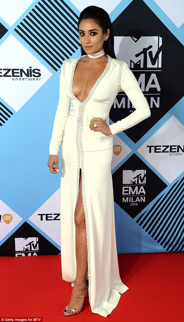 Shay Mitchell shows off cleavage at the MTV EMAs 2015