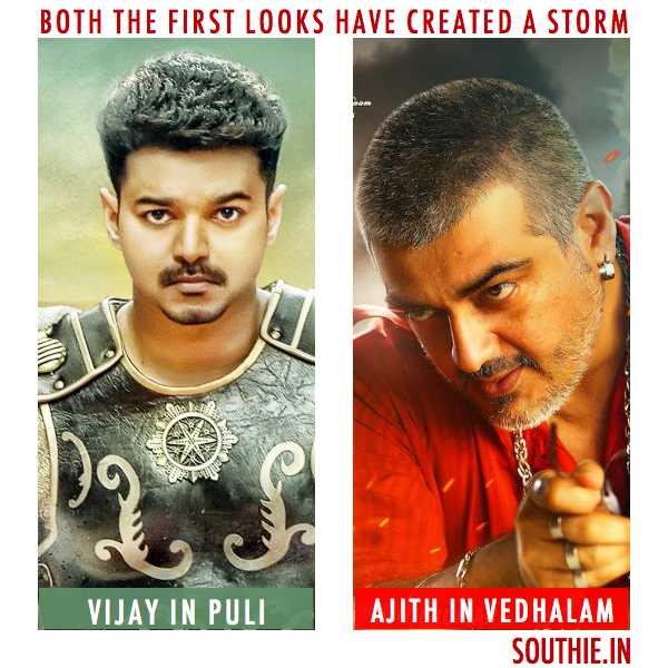 Whats the similarity between Puli and Vedhalam, Apart from being two huge big stars starring in them. Puli in Vijay, Ajith In Vedhalam, Puli vs Vedhalam, Vijay vs Puli, Latest News, From Puli, and Vedhalam