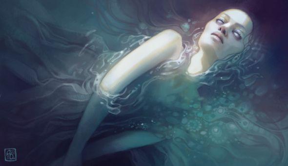 Anna Dittmann escume deviantart ilustrações belas singelas surreal mulheres Submergida