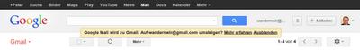 Google Mail wird zu Gmail