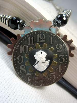 Steampunk style clock and cameo necklace