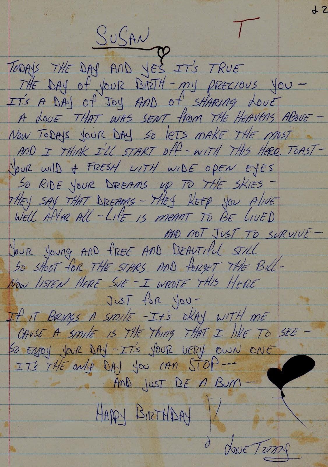 Tommy Mondello birthday poem boot camp 1981
