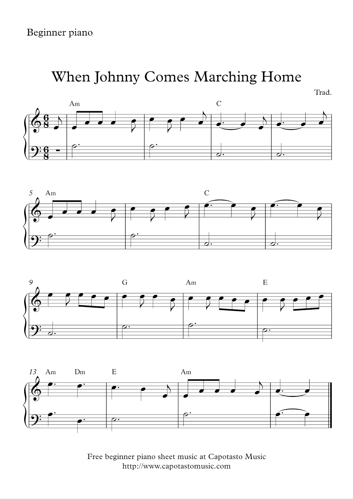 Free easy beginners piano sheet music when johnny comes marching