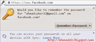 Pesan Remember Password pada firefox