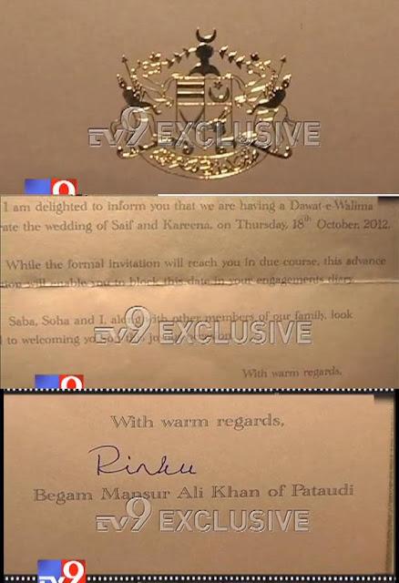 Kareena with Saif's wedding reception invitation card