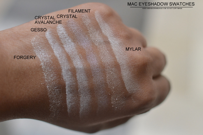 MAC Eyeshadow Swatches - Forgery Gesso Crystal Avalanche Filament Mylar - Darker Indian NW40 NC45 Skin tone