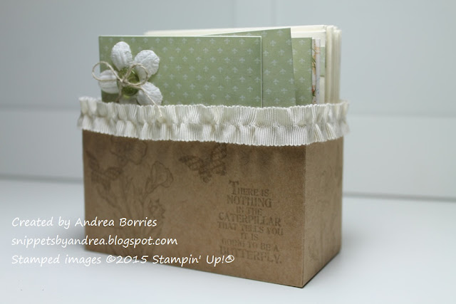 Handmade box for coordinating card set and envelopes.