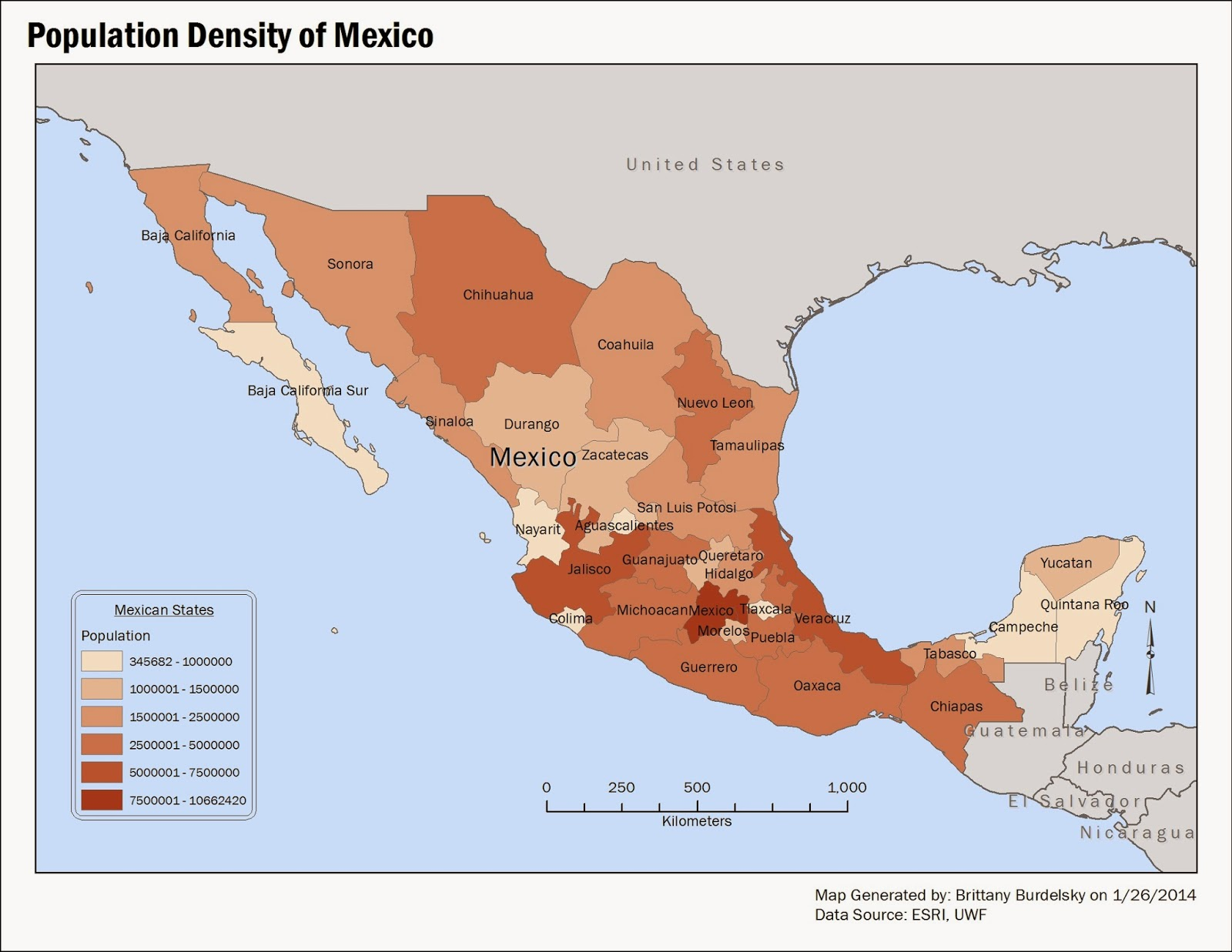 this map depicts the population density of mexico population is separated into six classes
