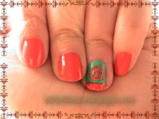 uñas,naranja,y,verde