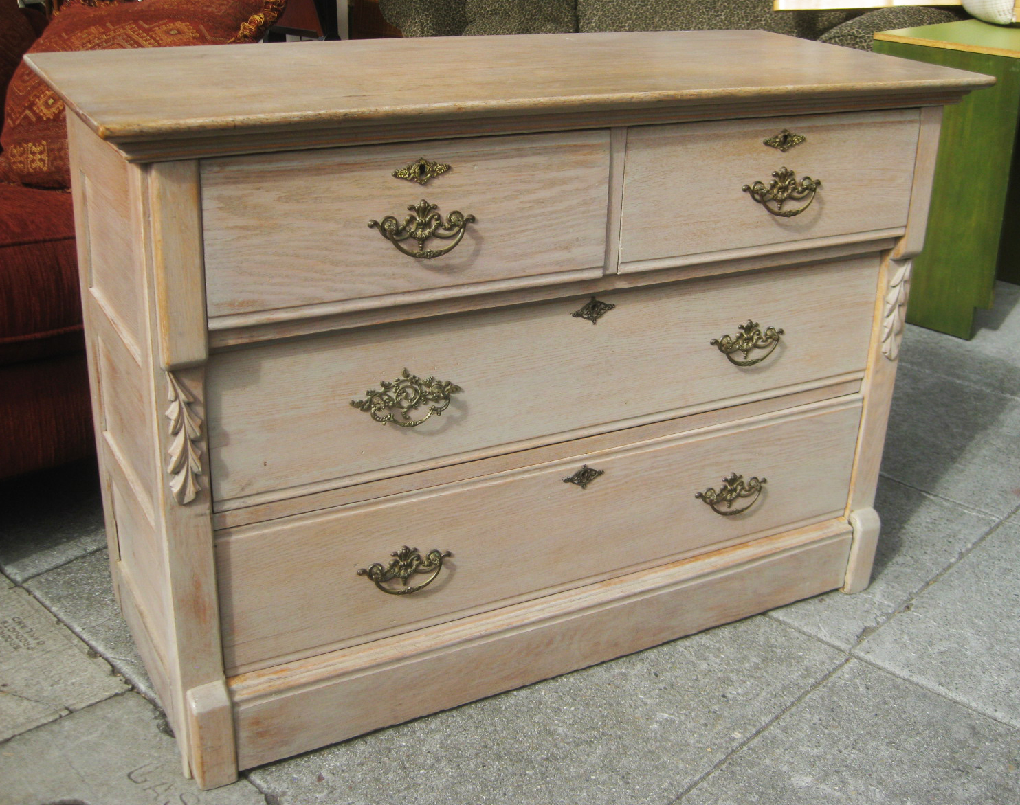 UHURU FURNITURE & COLLECTIBLES: SOLD - White Washed Oak Dresser - $90