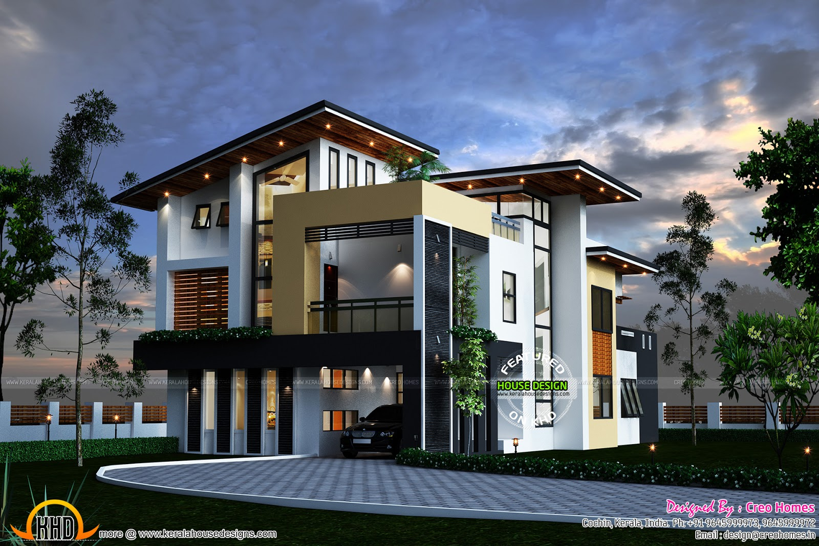 Kerala contemporary house kerala home design and floor plans for Contemporary home blueprints