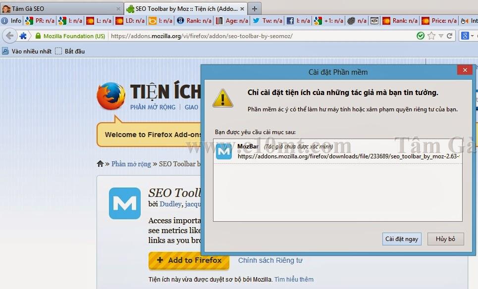 Cài đặt Tiện ích Seomoz Toolbar Firefox