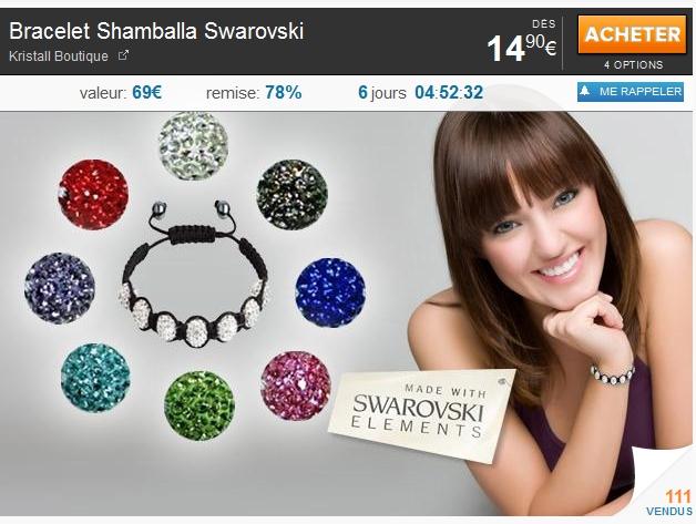 Bracelet Shamballa Swarovski 19.90€ + 4€ offerts sur votre prochaine commande