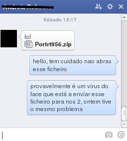 """Não abra o ficheiro enviado pelo chat do facebook que diz """"lool, Portrt956.zip""""!"""