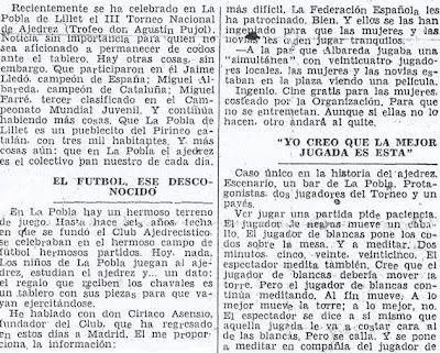 Crónica de Fernando Isaac Fernández en el diario Madrid sobre el III Torneo Nacional de Ajedrez de La Pobla de Lillet 1957 (3)