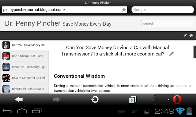 Opera Mobile Android browser screen capture shows example web site