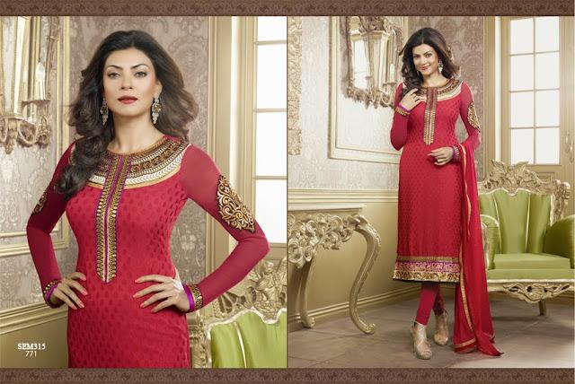 Susmita Sen Embroidery Neck Anarkali Suit