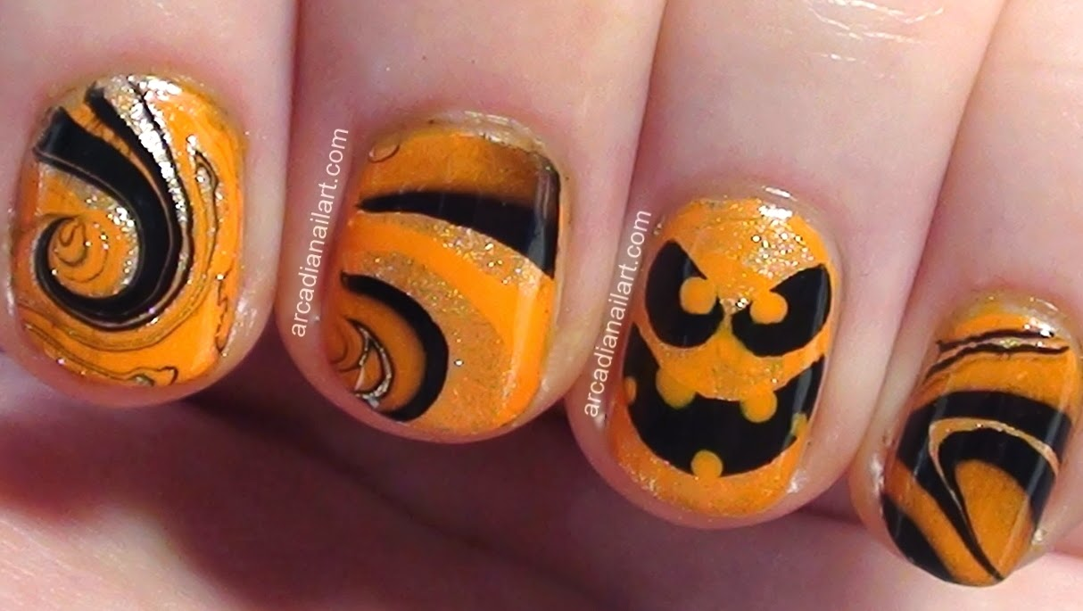 Arcadianailart Easy Halloween Pumpkin Water Marble Nail Art On